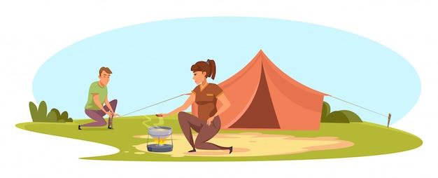 Casal de homem e mulher acampando na natureza