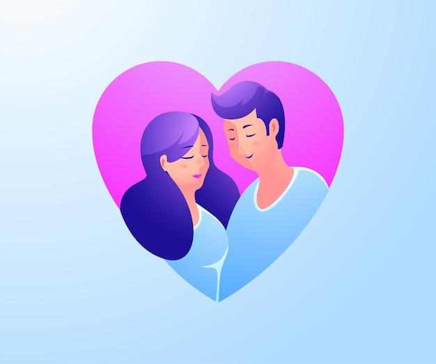 Casal de homem e mulher apaixonado por um símbolo de coração