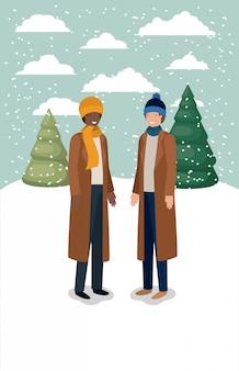 Casal de homens em snowscape com roupas de inverno
