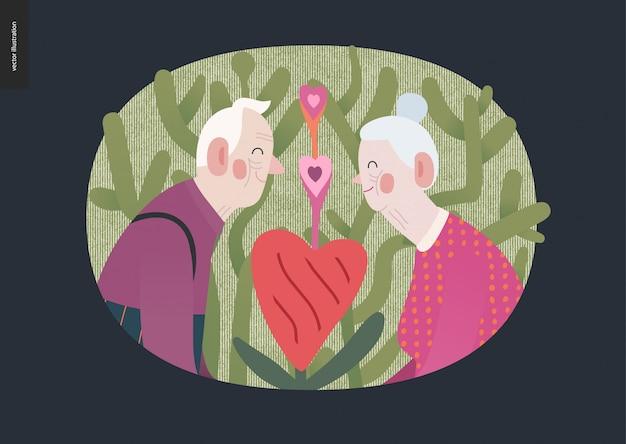 Casal de idosos apaixonados - gráficos de dia dos namorados