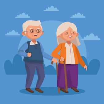 Casal de idosos caminhando com personagens idosos ativos