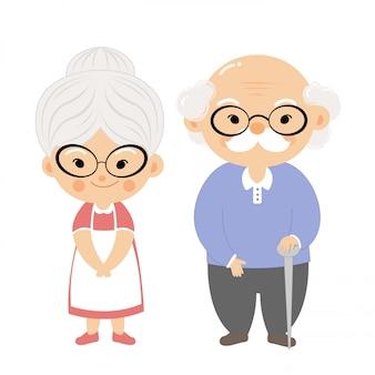 Casal de idosos com cara de sorriso.