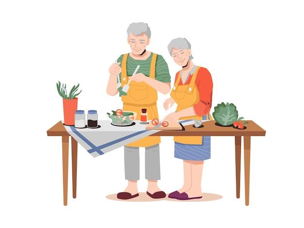 Casal de idosos com comida saudável cozinhando o jantar na mesa