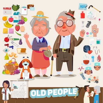 Casal de idosos com conjunto de ícones.