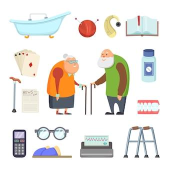 Casal de idosos com ferramentas de assistentes.