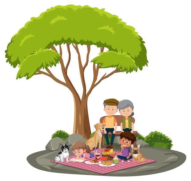 Casal de idosos com filhos no parque, isolado no fundo branco