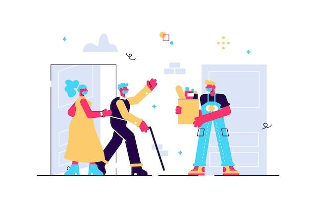 Casal de idosos com máscaras recebendo uma sacola de compras do entregador. voluntário cuidando da família sênior durante o surto do vírus. ajuda de compras. ilustração em estilo cartoon plana