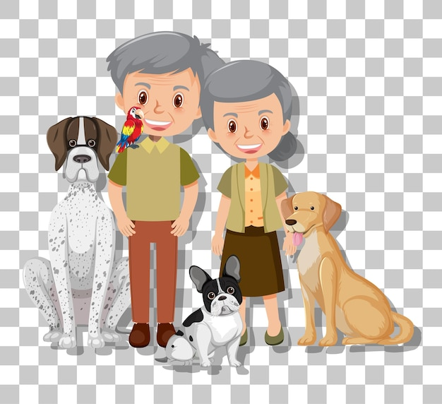 Casal de idosos com seus cachorros de estimação isolados em fundo transparente