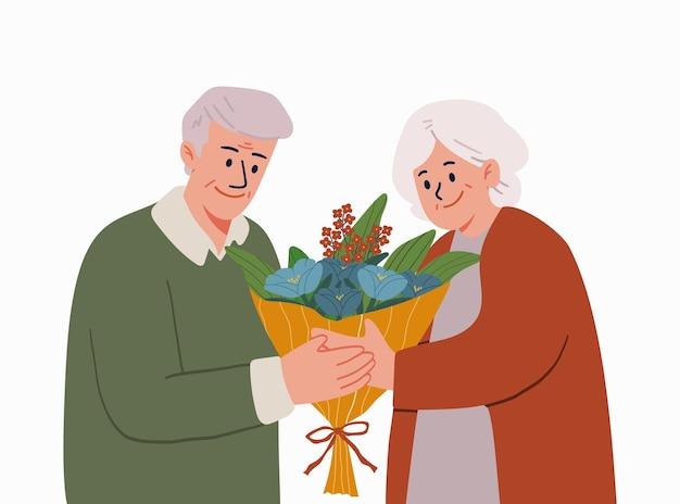 Casal de idosos com um buquê de flores