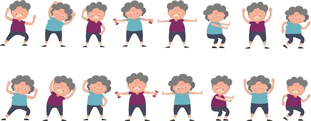 Casal de idosos com um conjunto de posturas de exercício