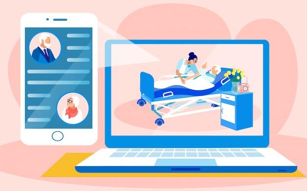 Casal de idosos conversando no aplicativo sobre amigo doente Vetor Premium