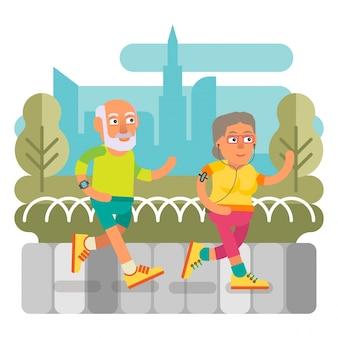 Casal de idosos correndo juntos
