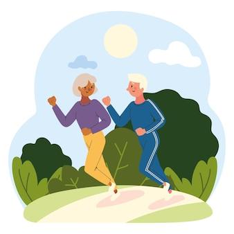 Casal de idosos correndo