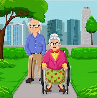 Casal de idosos dos desenhos animados no parque