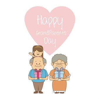 Casal de idosos e garota com presentes dia dos avós felizes