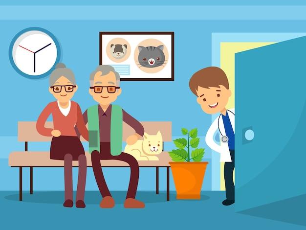 Casal de idosos e gato no veterinário