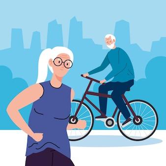 Casal de idosos fazendo atividades diferentes e ilustração de hobbies