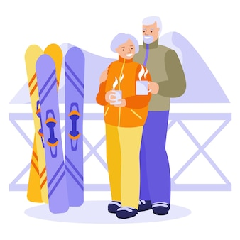 Casal de idosos feliz bebendo chá quente, café em uma estância de esqui. o conceito de relacionamentos felizes, idosos de lazer ativo. ilustração vetorial em estilo simples.
