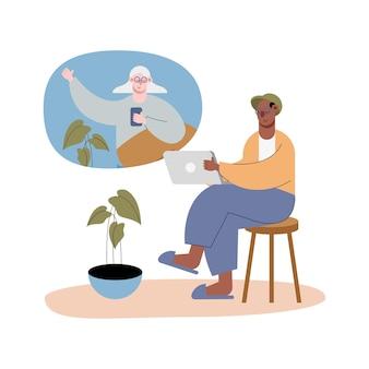 Casal de idosos inter-raciais usando tecnologia na ilustração de personagens de videochamada