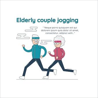 Casal de idosos movimentando-se, ilustração vetorial