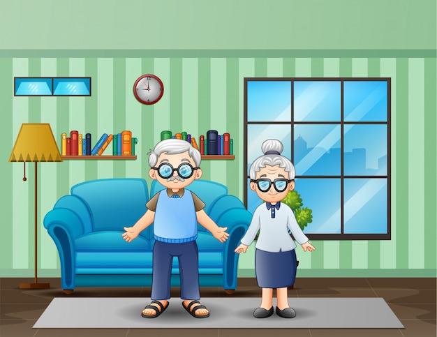 Casal de idosos na sala de estar