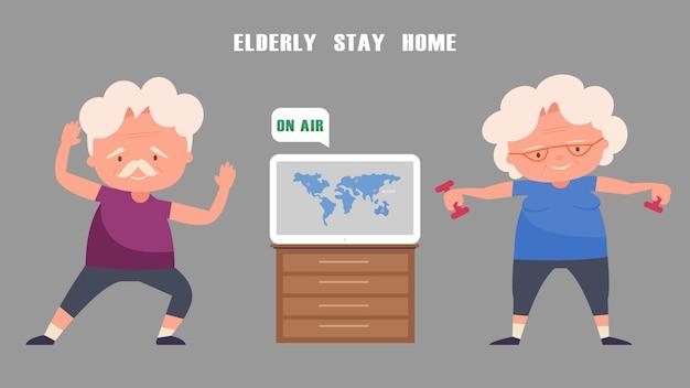 Casal de idosos se exercita em casa. ouça notícias da tv.