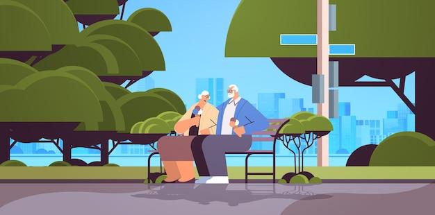 Casal de idosos sentado no banco tomando sorvete e avós felizes passando um tempo juntos no parque