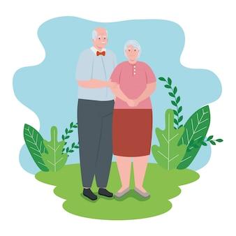 Casal de idosos sorrindo ao ar livre, mulher velha e velho design ilustração ao ar livre
