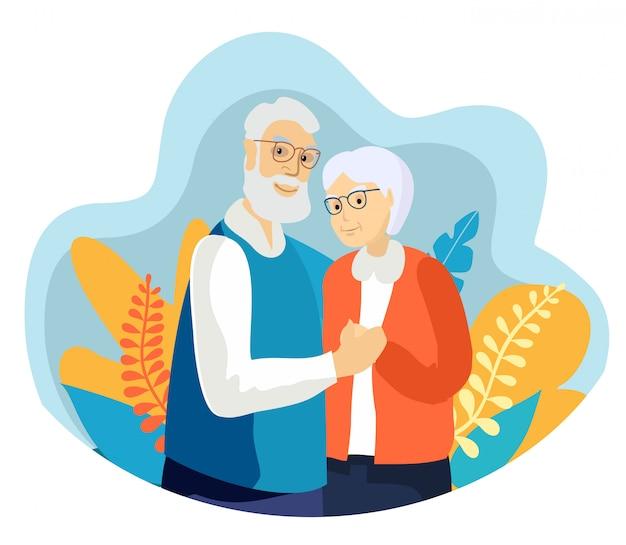 Casal de idosos sorrindo. casal de mulher velha e velho abraçam carinhosamente.