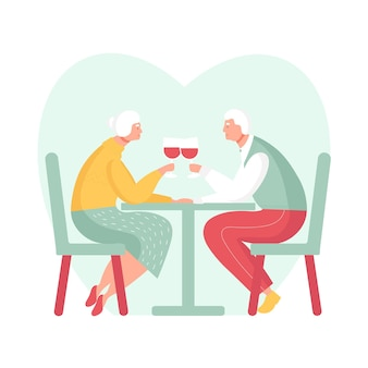 Casal de idosos tem um encontro romântico ceia em restaurante relacionamentos na velhice