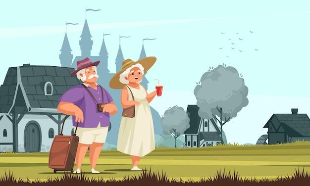 Casal de idosos viajando