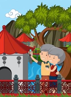 Casal de idosos visitam a china