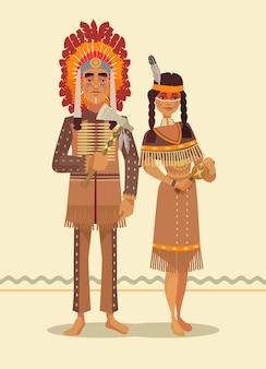 Casal de índios americanos nativos. personagens de homem e mulher.