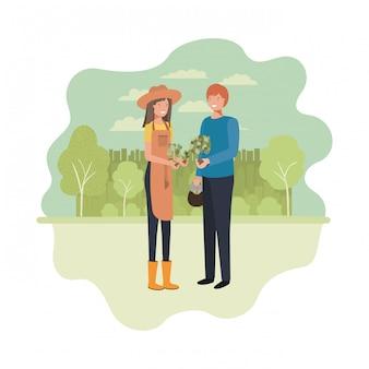 Casal de jardineiros com caráter de avatar de paisagem