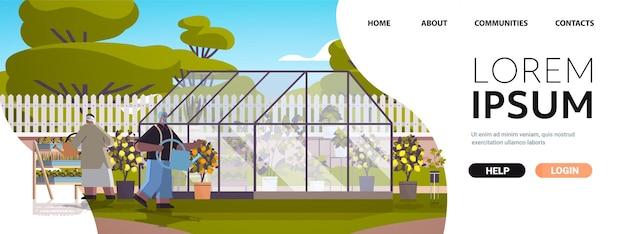 Casal de jardineiros sênior com regadores cuidando de vasos de plantas na estufa ou no jardim doméstico.