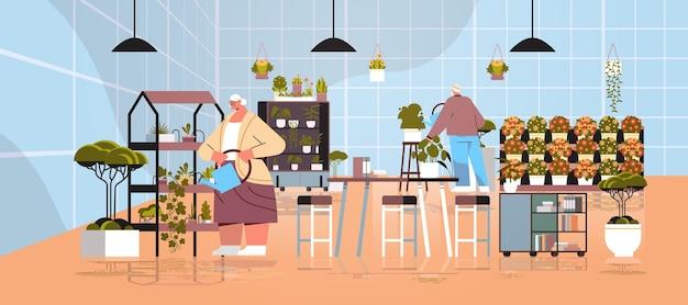 Casal de jardineiros sênior cuidando de vasos de plantas e flores em casa de vegetação jardim interior ilustração vetorial horizontal de comprimento total