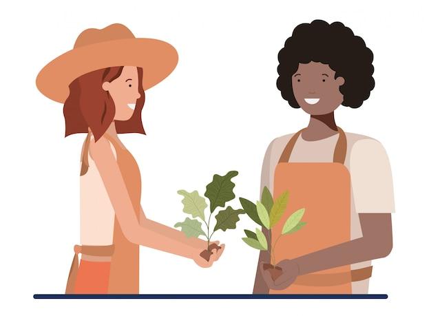 Casal de jardineiros sorrindo personagem avatar