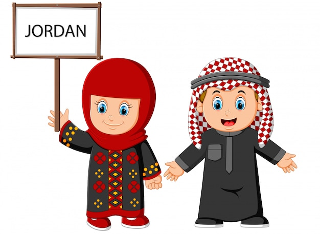 Casal de jordan dos desenhos animados vestindo trajes tradicionais