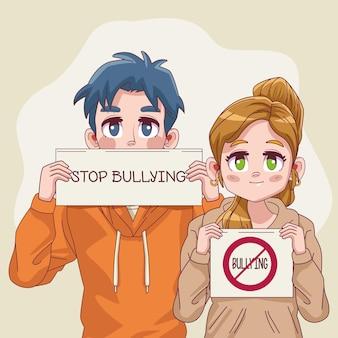 Casal de jovens adolescentes com letreiros de parar de bullying na ilustração de banners
