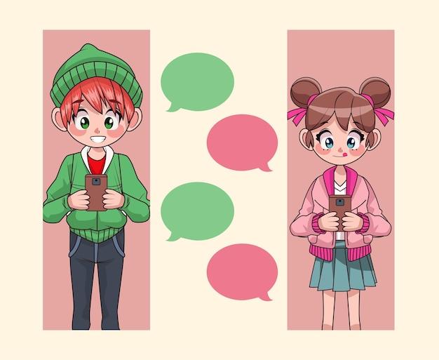 Casal de jovens adolescentes conversando com ilustração de personagens de anime em smartphones