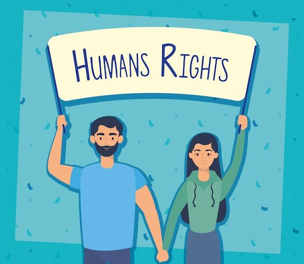 Casal de jovens amantes com rótulo de direitos humanos vector design ilustração