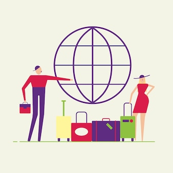 Casal de jovens do sexo feminino e masculino. homem e mulher com bagagem vão viajar em estilo simples
