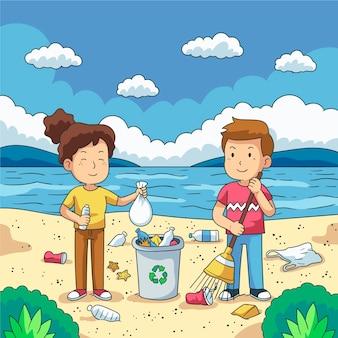 Casal de jovens limpando lixo plástico à beira-mar