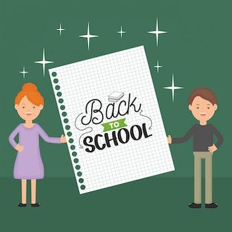 Casal de jovens professores com folha de caderno. de volta à escola