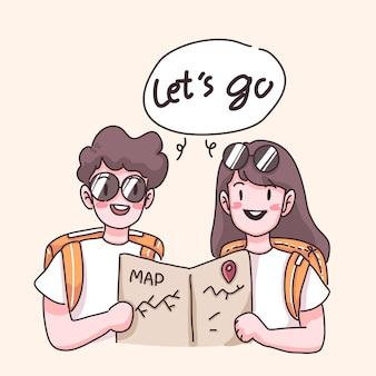 Casal de jovens viajantes verificando o mapa antes de viajar juntos no personagem de desenho animado, ilustração plana