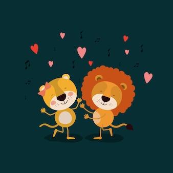 Casal de leoa e leão dançando no amor