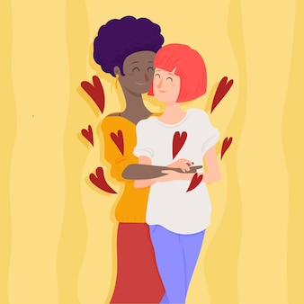 Casal de lésbicas apaixonadas com design plano ilustrado