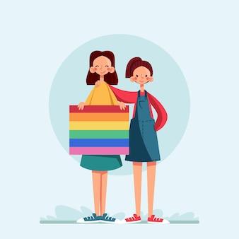 Casal de lésbicas com bandeira lgbt ilustrada