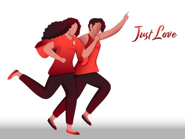 Casal de lésbicas de desenho animado correndo em um fundo branco apenas para o conceito de amor