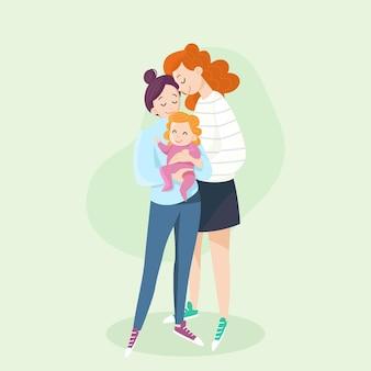 Casal de lésbicas de design plano com criança